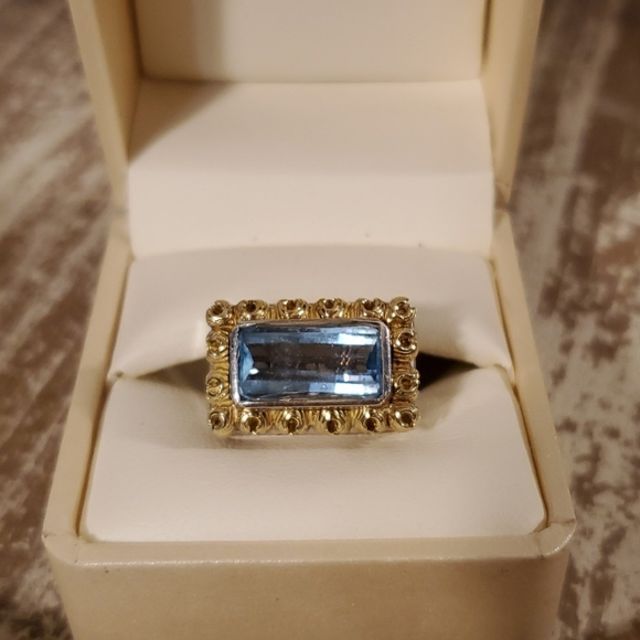 Elliott ring, 18kt gold and .925 sterling w/topaz